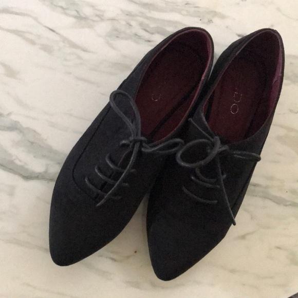 Aldo Shoes - Aldo black pointy tip lace flat shoes ~ size 6